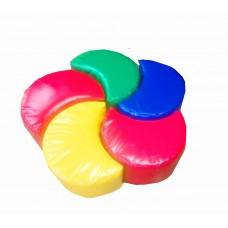 Разноцветный мягкий спортивно-игровой тренажер из 5 элементов для детей от 1 года для дома Ветрячок 80х80х40см