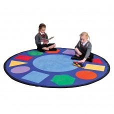 Детский учебный Мат Геометрия круглый для развивающих занятий с детьми от 3 лет, со съемным чехлом D=198 см