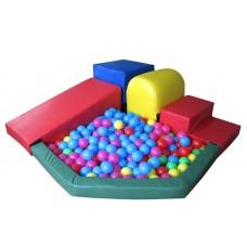 Мягкий модульный игровой тренажер спуск с бассейном со ступенью разборный для квартиры, дома или дачи Блок-7