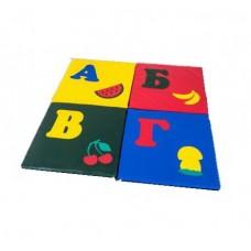 Детский игровой складной Мат-Коврик Азбука из 4 частей для развивающих занятий, сумка для хранения 100х100х3см