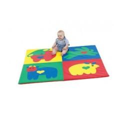 Детский игровой складной Мат-Коврик Сафари из 4 частей для развития детей с сумкой для хранения 100х100х3 см