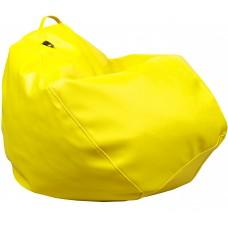 Бескаркасное Кресло-Груша Практик со съемным чехлом из кожзаменителя, с ручкой для переноски, желтый 90х60 см