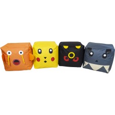 Набор Детских Бескаркасных Пуфиков Покемоны из 4 элементов со съемными чехлами из ткани Оксфорд 40х40х40 см