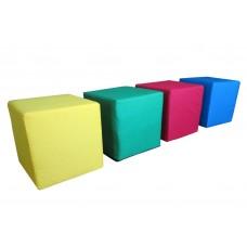Набор Детских Бескаркасных Пуфиков Кубик из 4 элементов со съемными чехлами из ткани Оксфорд 40х40х40 см