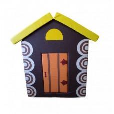 Мягкий игровой объемный Домик Теремок с аппликациями разборный из матов для дома, детского сада 100х100х140 см