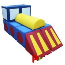 Детский Спортивно-игровой разборный Модуль-трансформер Паровоз: конструктор из 11 элементов со съемным чехлом