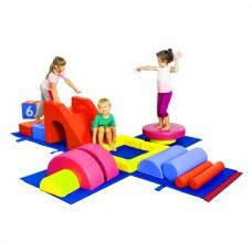 Мягкий спортивный игровой модуль для детей из 15 элементов разборный из ПВХ Гимнастический бокс 400х300 см