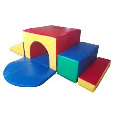 Мягкий модульный игровой детский тренажер с горкой для дома,школы разборный Тоннель Альпиниста-1 170х170х50 см