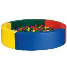 Мягкий развивающий игровой модульный сухой бассейн разборный для дома и улицы без шариков Круглый 150х40 см