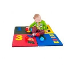 Детский игровой складной Мат-Коврик Арифметика из 4 частей для развития детей, сумка для хранения 100х100х3 см