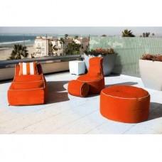 Комплект бескаркасной уличной мебели Sunbrella из 4 предметов: кресло, лежак, пуф и столик со съемными чехлами