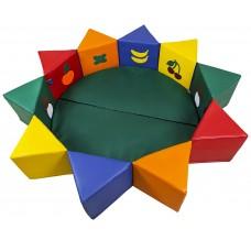 Мягкий детский Игровой Манеж-бассейн Солнышко разборный с сиденьями на липучке, с аппликацией D=160см, H=30см