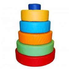 Дидактический игровой развивающий мягкий модуль из 6 элементов для детей от 1 года Пирамидка 72х72х92 см