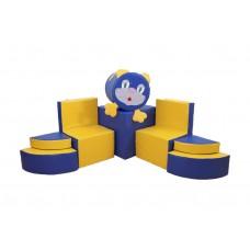 Мягкий модульный комплект детской игровой мебели из 8 элементов для квартиры разборный Котик 150х150х60 см