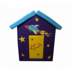 Мягкий игровой объемный Домик Космос с аппликациями разборный из матов для дома, детского сада 100х100х140 см
