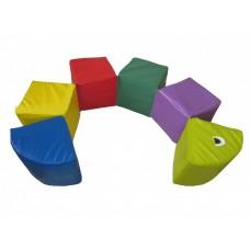 Мягкий модульный развивающий игровой цветной тренажер из 6 элементов разборный Цветная гусеница 120х20х20 см