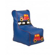 Бескаркасное детское Кресло-мешок Машинка со съемным чехлом, плотная набивка, синий, высота спинки 77 см