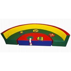 Мягкий игровой модульный набор из дивана для двух малышей и столика от 1 года для детей Дидактика 200х35х40 см