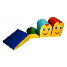 Мягкий спортивно-игровой модульный Напольный конструктор Кочки из 4 элементов с горкой для дома, детского сада