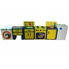 Дидактический развивающий модульный набор с 8 элементами для детей от 1 года На кухне желтый 270х50х30 см