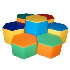 Мягкий модульный комплект детской игровой мебели из 7 элементов со столом и пуфами для квартиры Шестигранник