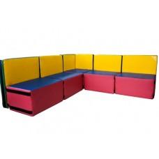 Мягкий игровой диван для детей от 4-х лет из 7 модулей разборный с прямыми и угловой секцией Уют 150х150х60 см