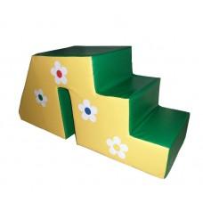 Мягкий игровой модуль горка-ступенька для сухого бассейна для дома,детского сада и школы Цветочек 130х60х50 см