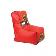 Бескаркасное детское Кресло-мешок Машинка со съемным чехлом, плотная набивка, красный, высота спинки 77 см