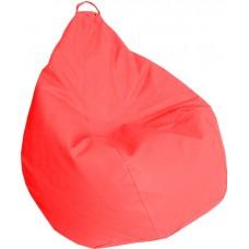 Бескаркасное Кресло-Груша Практик со съемным чехлом из кожзаменителя, с ручкой для переноски, красный 90х60 см