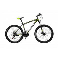 Горный Велосипед CrossBike Leader детский колеса 26 дюймов, алюминиевая рама 13 дюймов, вес 14кг - Черный-Желтый