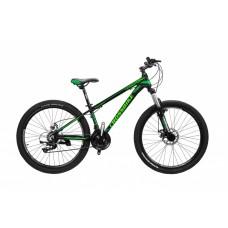 Горный Велосипед CrossBike Leader взрослый колеса 26 дюймов, алюминиевая рама 17 дюймов, 14кг - Черный-Зеленый