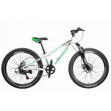Горный Велосипед CrossBike Blast SUSP Подростковый колеса 26 дюймов, алюминиевая рама 13 дюймов, 13.2кг - Белый