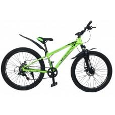 Горный Велосипед CrossBike Blast SUSP Подростковый колеса 26 дюймов, рама 13 дюймов, 13.2кг - Неоновый зеленый