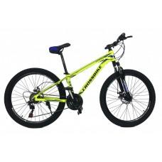 Горный Велосипед CrossBike Leader взрослый колеса 26 дюймов, алюминиевая рама 15 дюймов, 14кг - Неоновый желтый