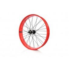 Колесо переднее 26 дюймов JingPin для фэтбайка с усиленным ободом, втулка SF-HB25 спицы 14G - цвет рамы: красный
