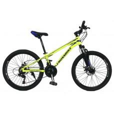 Горный Велосипед CrossBike Leader детский колеса 24 дюйма, алюминиевая рама 12 дюймов, 13.2кг - Неоновый желтый