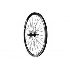 Колесо велосипедное заднее 26 дюймов с двойным алюминиевым ободом под дисковый тормоз, спицы 14G - Черный-Белый