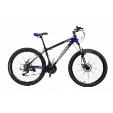 Горный Велосипед CrossBike Leader взрослый колеса 26 дюймов, алюминиевая рама 15 дюймов, вес 14кг - Черный-Синий