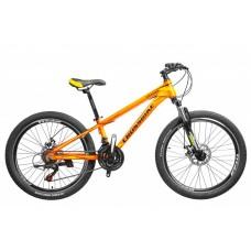 Горный Велосипед CrossBike Leader детский колеса 26 дюймов, алюминиевая рама 13 дюймов вес 14кг - Оранжевый неон