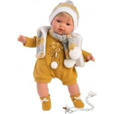 Игровая Испанская Кукла Llorens Juan L из винила, в вязаном костюме горчичного цвета с меховой жилеткой, 38см