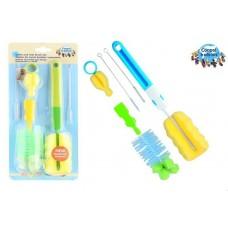 Набор универсальных щеток и губки для мытья детских бутылочек и сосок Canpol Babies Канпол из пластика