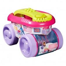 Детский Игровой Конструктор для девочек в Тележке-Ящике для сбора и хранения деталей, розовый - Mega Bloks