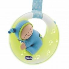 Детская Музыкальная Игрушка Подвеска-Мобиль на кроватку голубая с лунным свечением Луна регулируемая Chicco