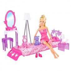 Детская Игровая Кукла Штеффи 29 см В комнате спальне со всей мебелью и аксессуарами Steffi Simba Симба