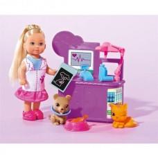 Детская Игровая Кукла Еви Ветеринар с собачкой, кошкой и аксессуарами в халате Evi Simba Симба из пластика