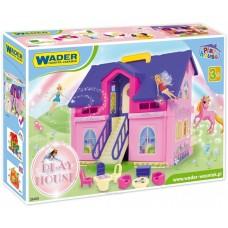 Детский Игровой 2-х этажный Дом с крыльцом и лестницей для девочек с мебелью без кукол WADER PLAY HOUSE Вадер