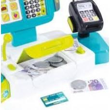 Детский Игровой Электронный Кассовый аппарат, световые и звуковые эффекты, микрофон и сканер, голубой, Smoby