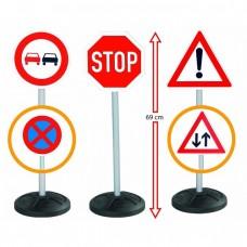 Большой Обучающий Детский Набор игрушечных Дорожных знаков Traffic со стойками двусторонние 3 штуки 69 см Big