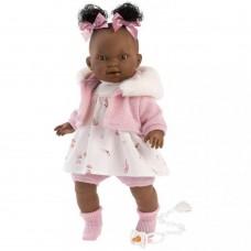 Игровая Испанская Кукла Llorens Диара из винила, плачущая, в платье и вязаной кофте с меховым воротником, 38см