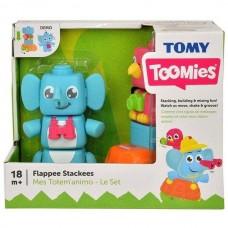 Развивающая Игрушка Конструктор Пирамидка на колесиках для малышей Тумис слоник Джамбо и попугай Полли, Tomy